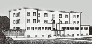 Preliminary drawing of the sanatorium by josef hoffmann